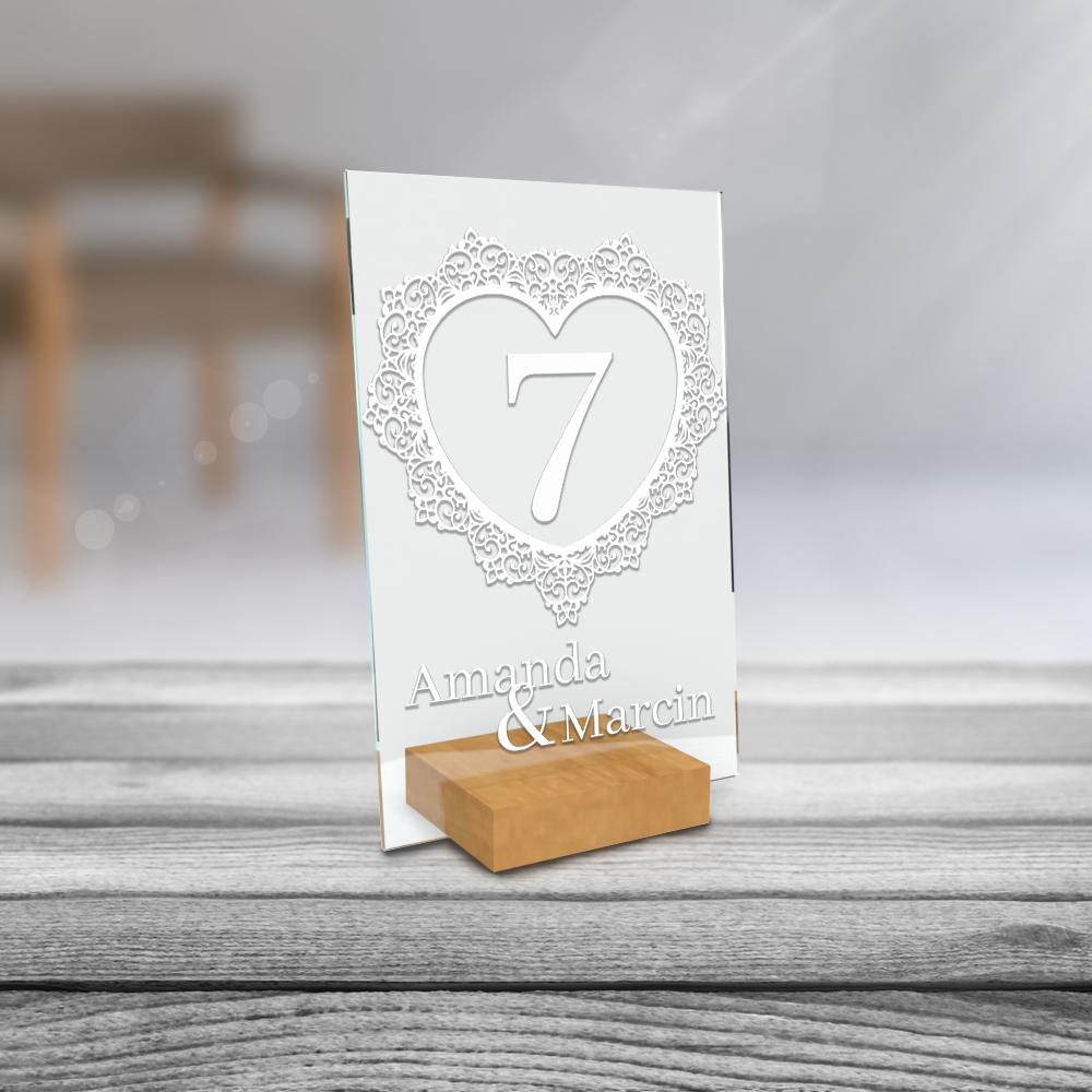 Personalizowane plexi ze zdjęciem 15x10 numeracja na stół weselny numeracja styl boho