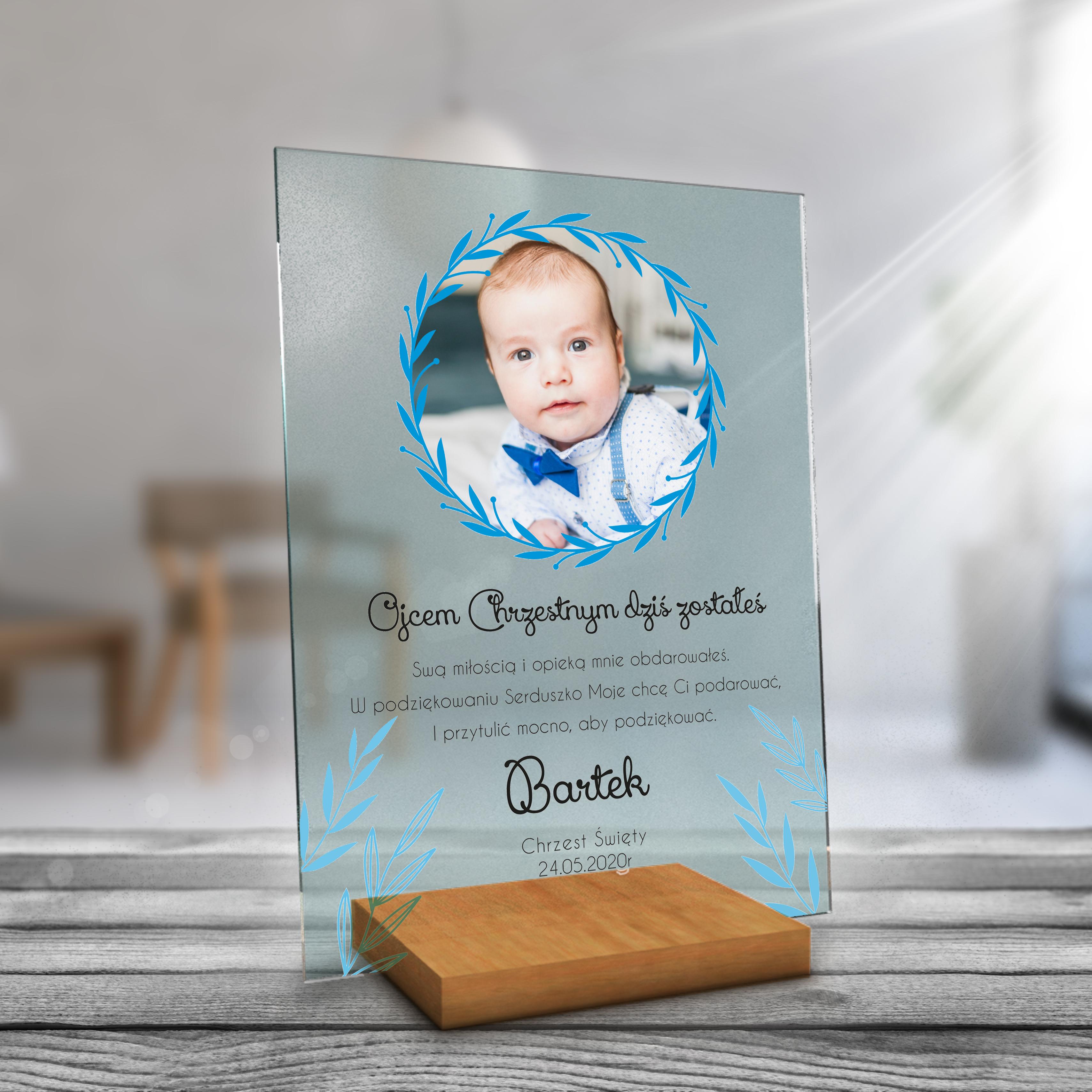 Przezroczyste PLEXI prezent pamiątka na chrzest komunię niebieskie liście