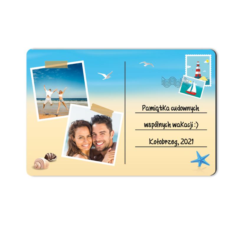 Foto magnes z wakacji ze zdjęciem pocztówka z nad morza