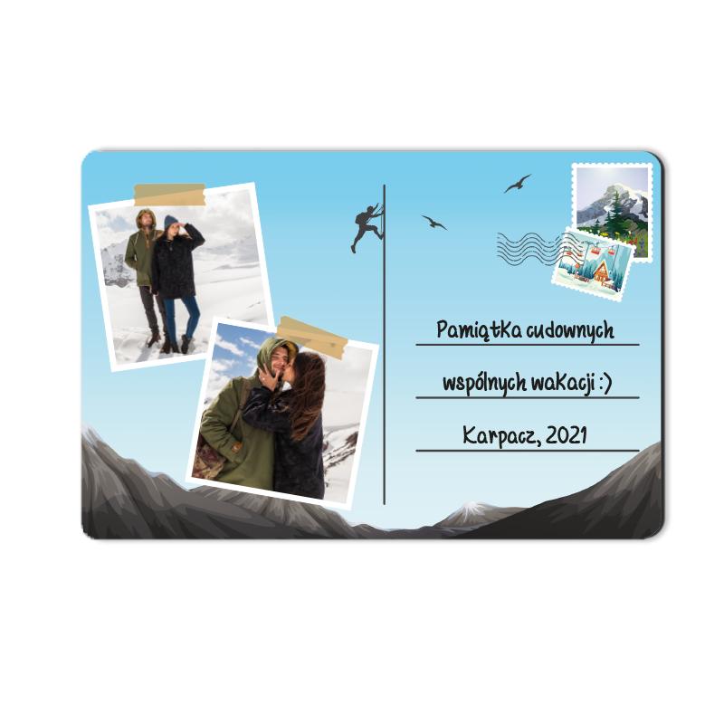 Foto magnes z wakacji ze zdjęciem pocztówka z gór