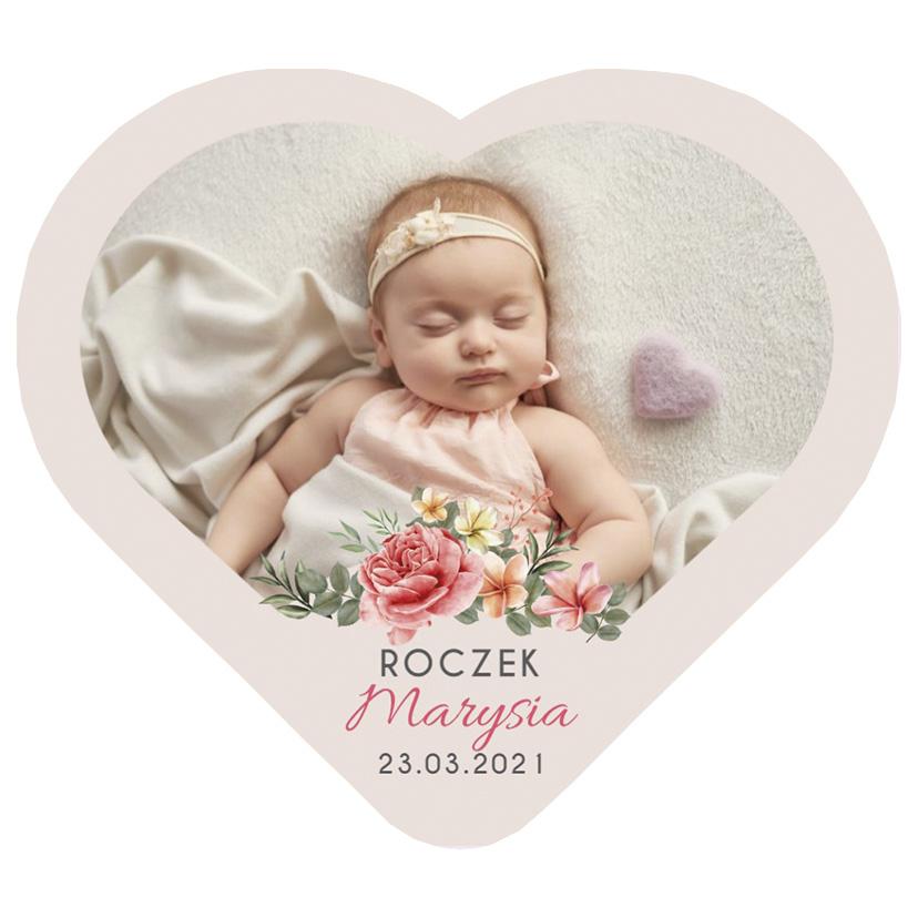 Magnes ze zdjęciem podziękowania na roczek pastelowe róże