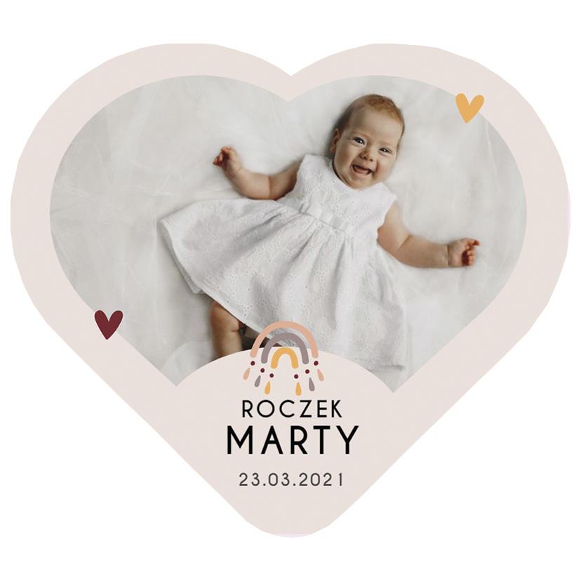 Magnes ze zdjęciem podziękowania na roczek chrzest komunię pastelowa tęcza