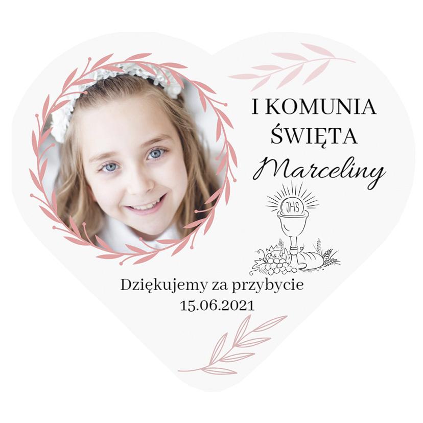 Magnes podziękowania ze zdjęciem na komunię dla dziewczynki różowe listki