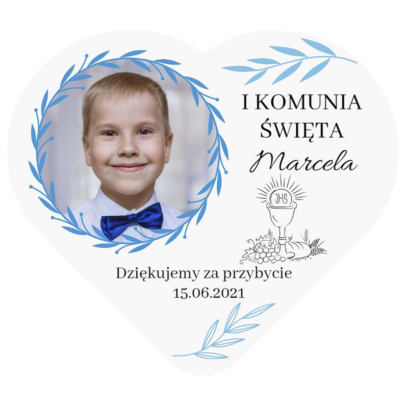 Magnes podziękowania ze zdjęciem na komunię dla chłopca niebieskie listki