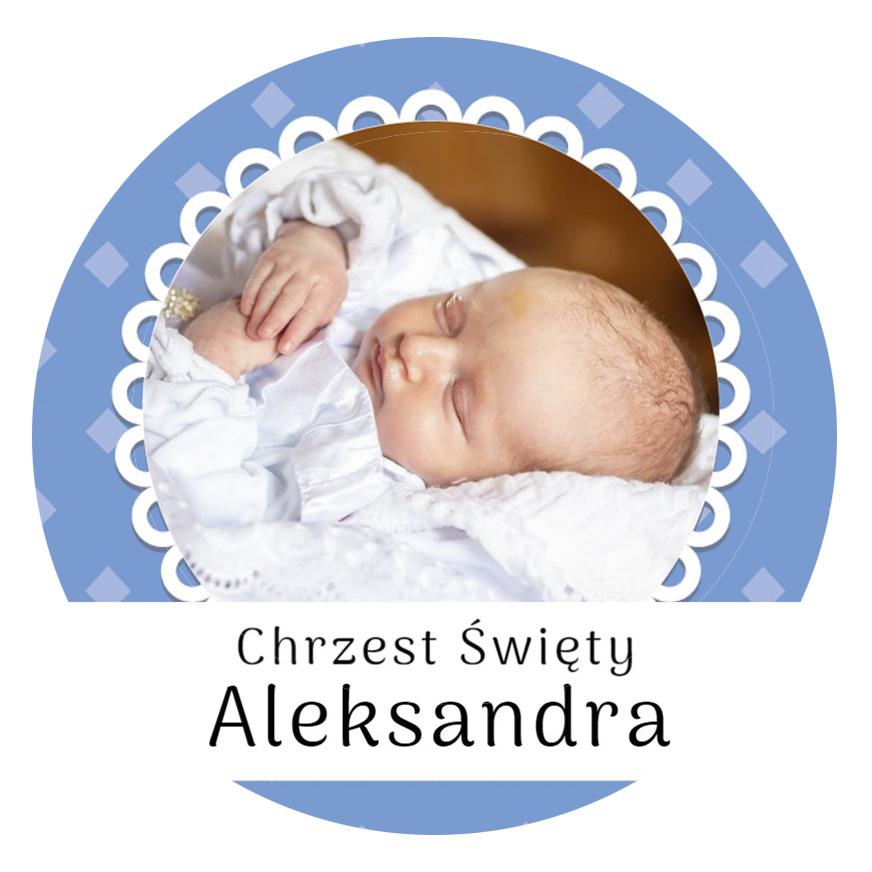 Magnes ze zdjęciem na chrzest roczek komunię dla chłopca