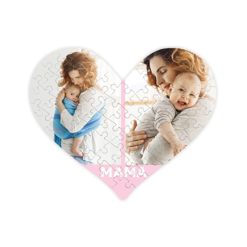 fotoPuzzle ze zdjęcia serce dla mamy