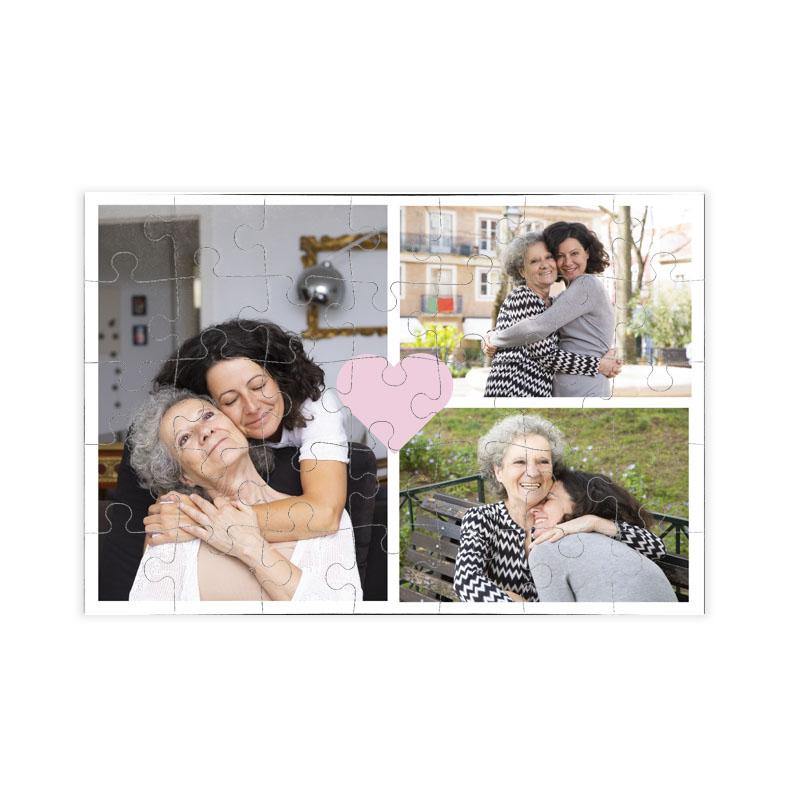 fotoPuzzle ze zdjęcia 35 elementów kolaż różowe serce