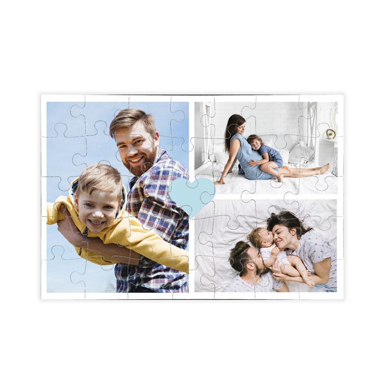 fotoPuzzle ze zdjęcia 35 elementów kolaż niebieskie serce