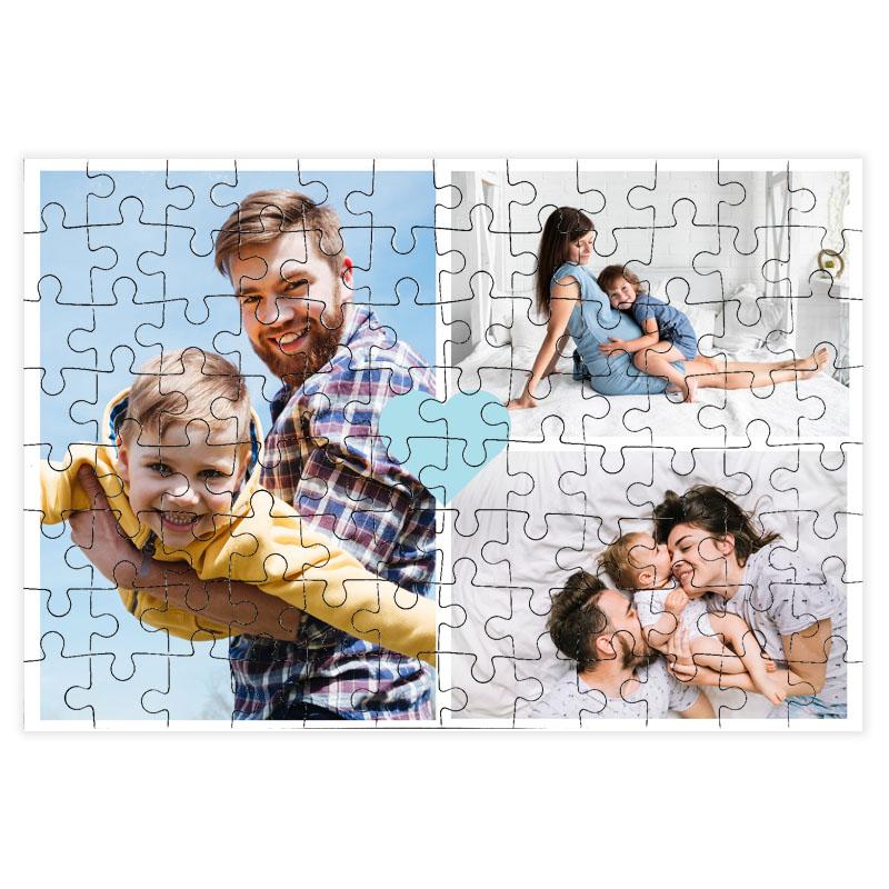 fotoPuzzle ze zdjęcia 96 elementów kolaż niebieskie serce