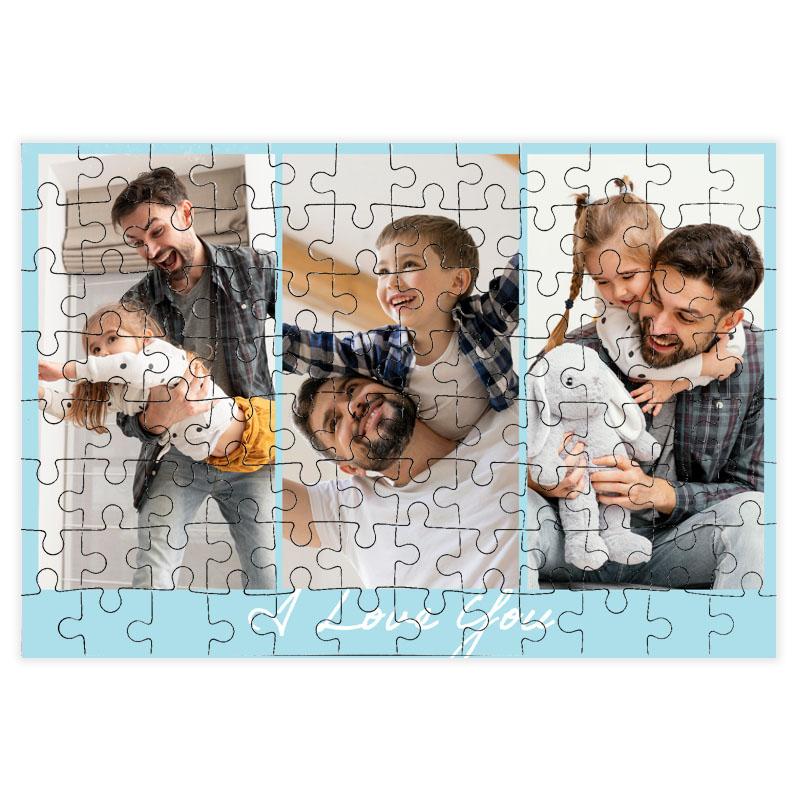 fotoPuzzle ze zdjęcia 96 elementów kolaż niebieski i love you