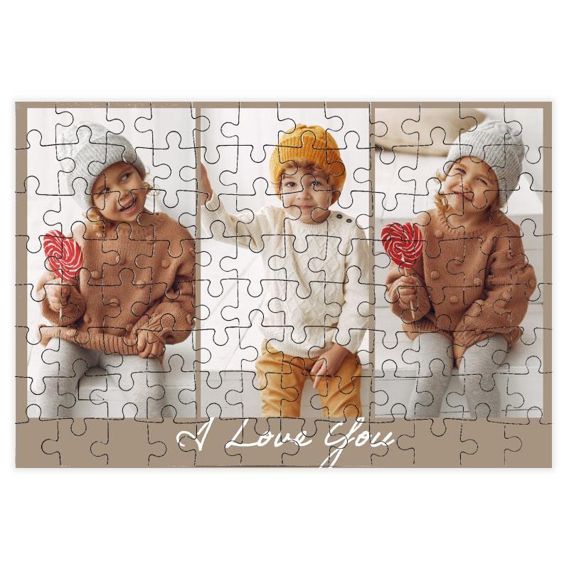 fotoPuzzle ze zdjęcia 96 elementów kolaż brąz i love you