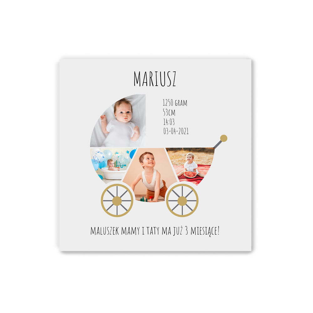 Plakat personalizowany 30x30 kolaż w kształcie wózka metryczka