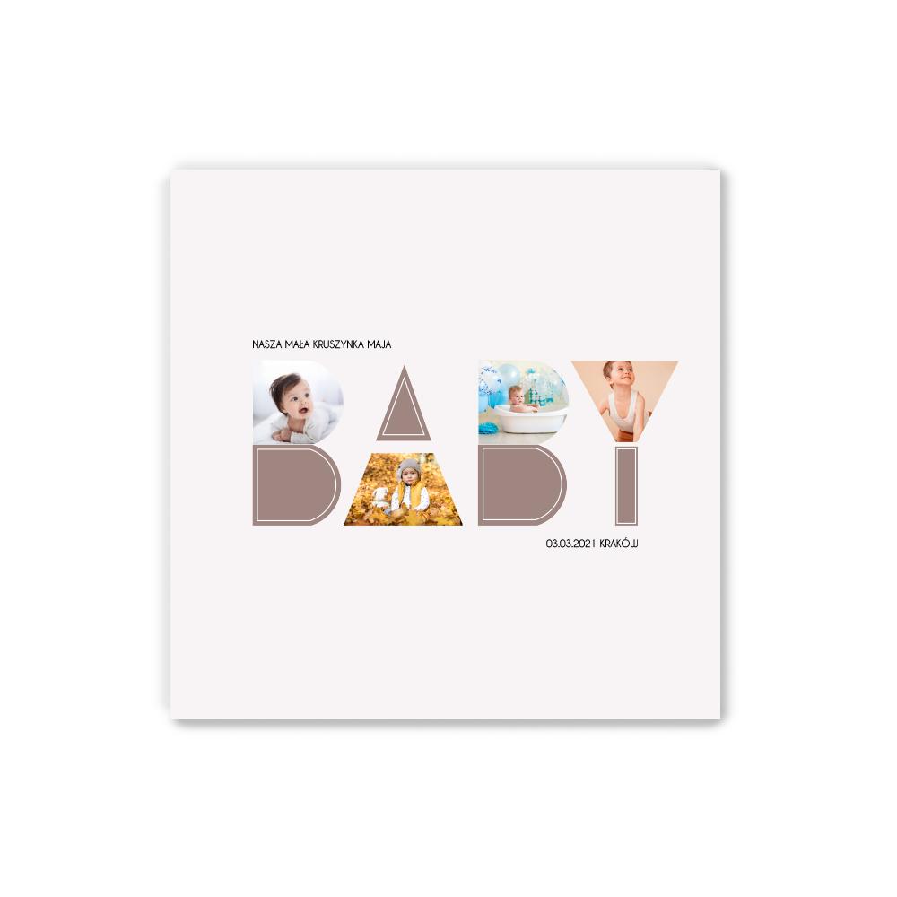 Plakat personalizowany 30x30 kolaż dla dziecka na urodziny, roczek, chrzest BABY