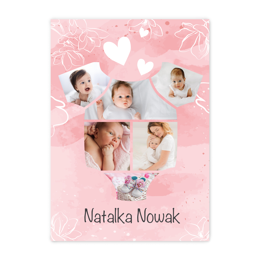 Plakat B2 ze zdjęciami na roczek urodziny dziewczynki kolaż w kształcie body róż