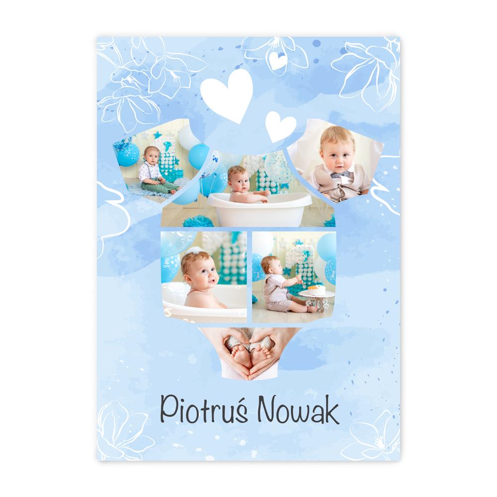 Plakat B2 ze zdjęciami na roczek urodziny chłopca kolaż w kształcie body niebieski