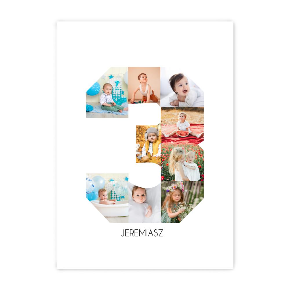 Personalizowany plakat A3 kolaż dla dziecka na urodziny, roczek, chrzest trzecie urodziny