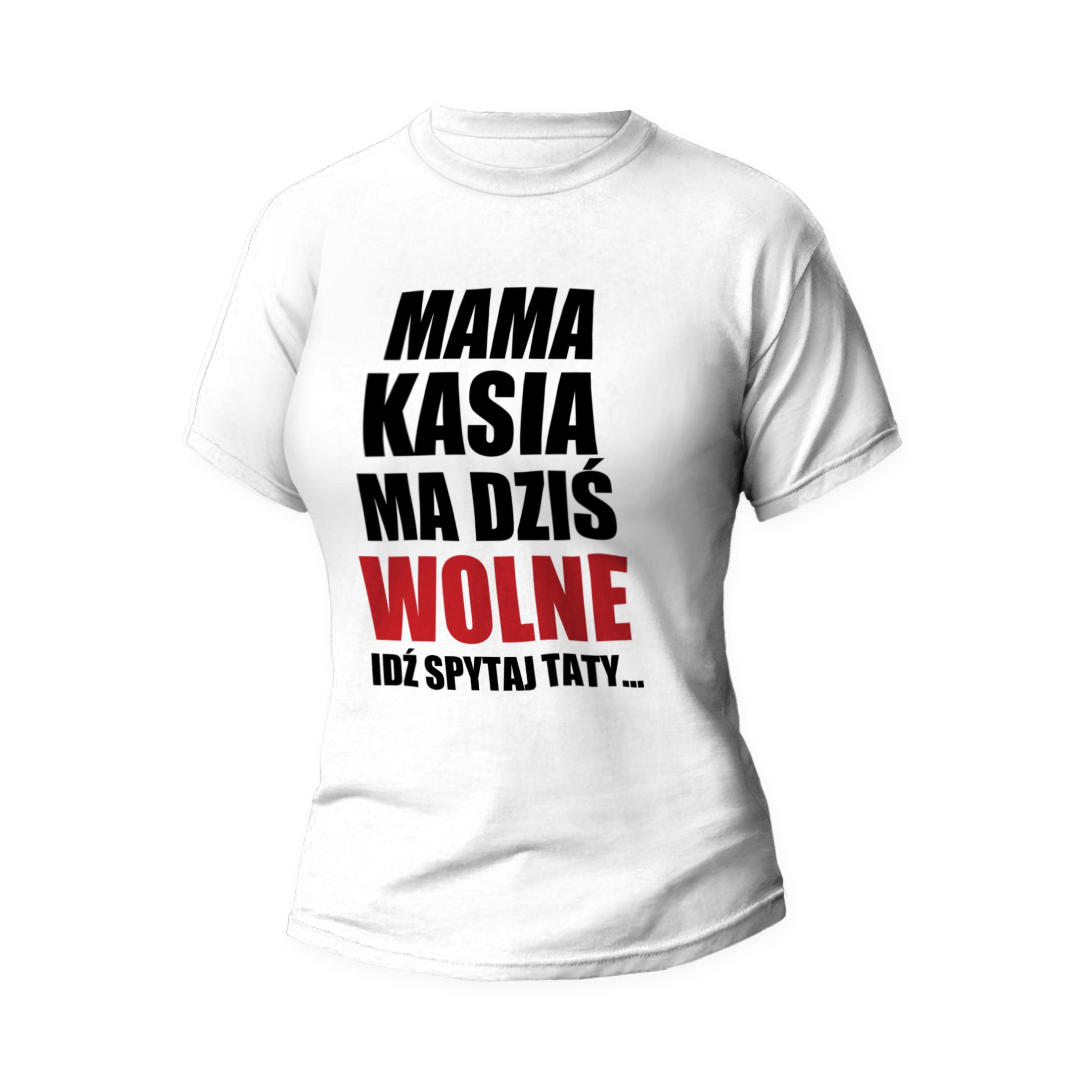 Rozmiar XXL - koszulka damska z własnym nadrukiem - Mama ma wolne - biała