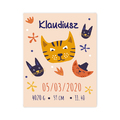 Plakat metryczka dziecka 30x40cm personalizowana kotki psotki