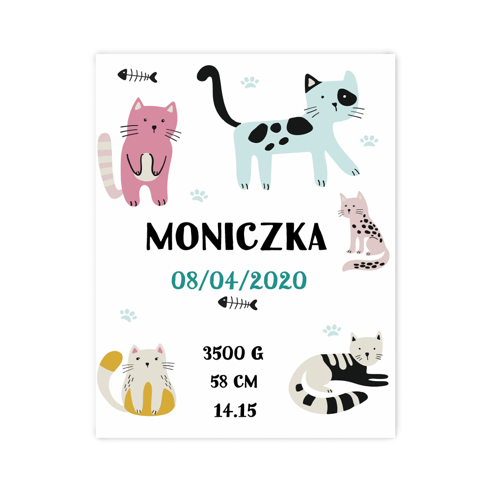 Plakat metryczka dziecka personalizowana kolorowe kociaki