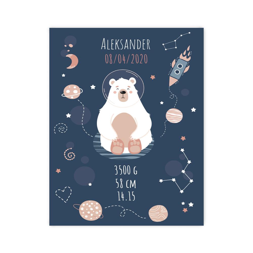 Plakat metryczka dziecka personalizowana miś astronauta