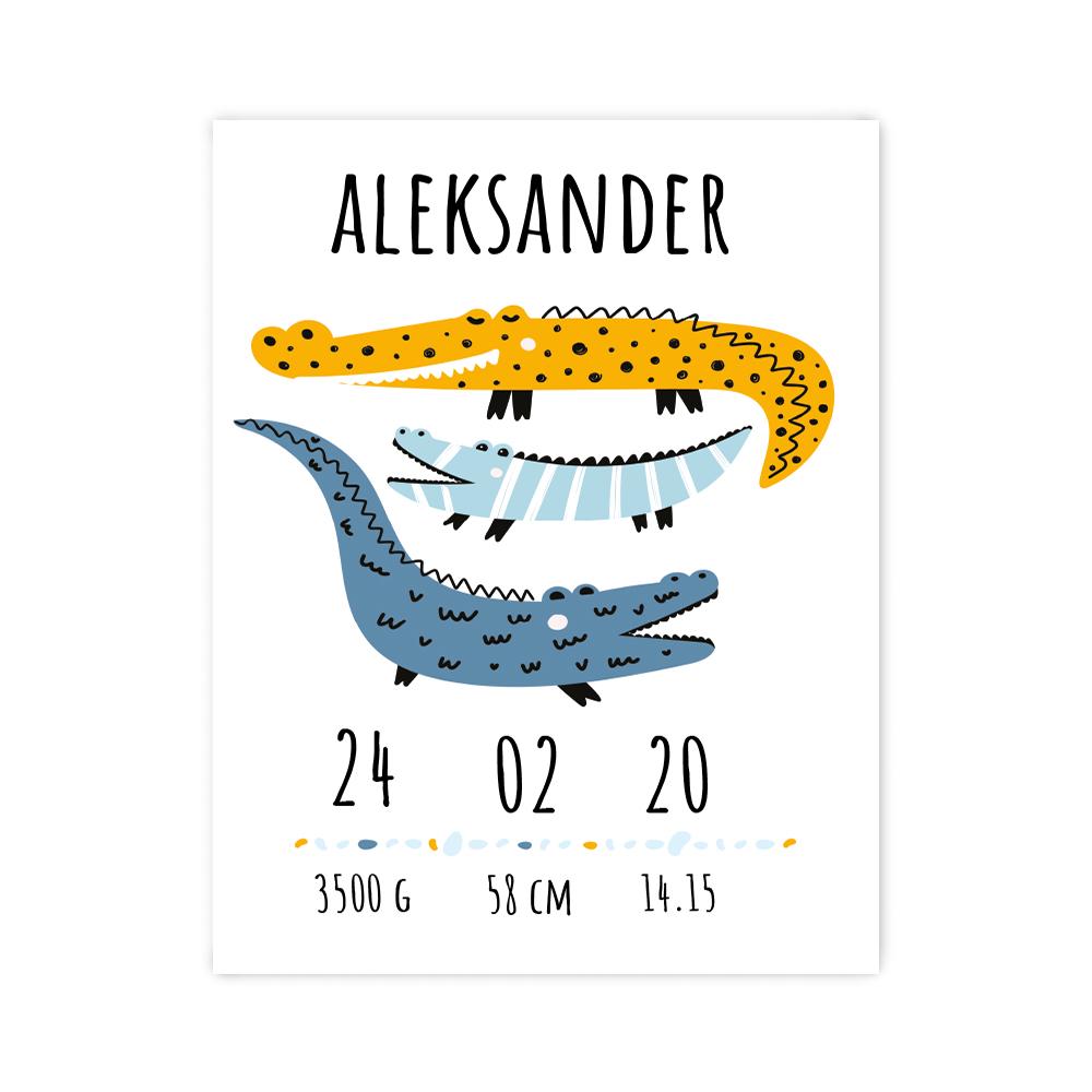 Plakat metryczka dziecka 30x40cm personalizowana krokodyle