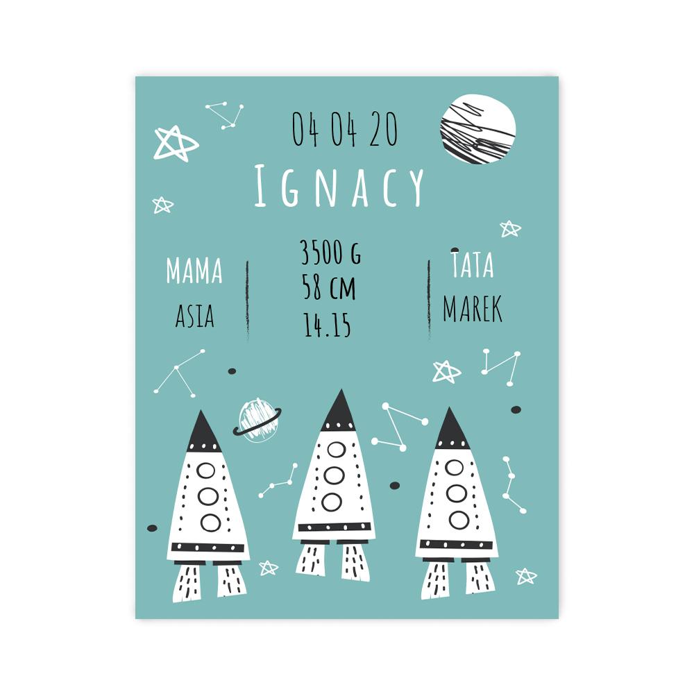 Plakat metryczka dziecka personalizowana odlotowe rakiety