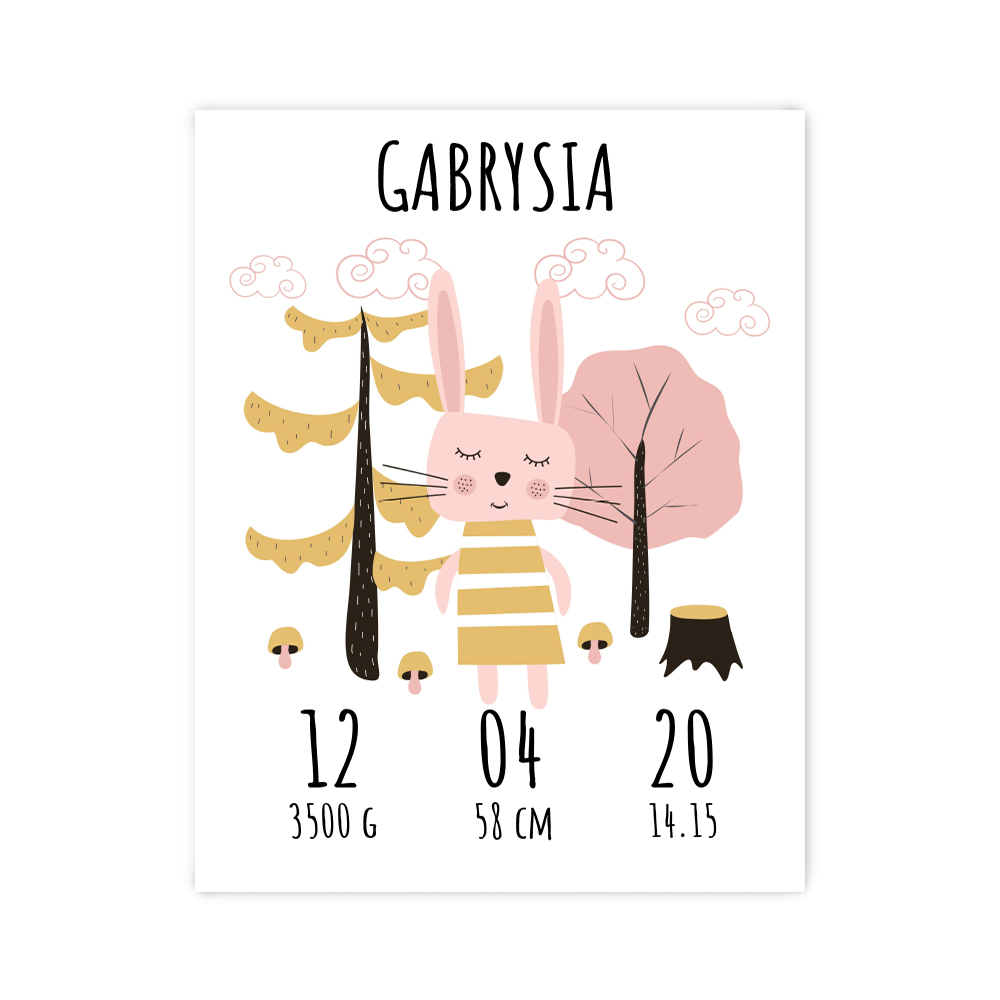 Plakat metryczka dziecka 30x40cm personalizowana leśny króliczek
