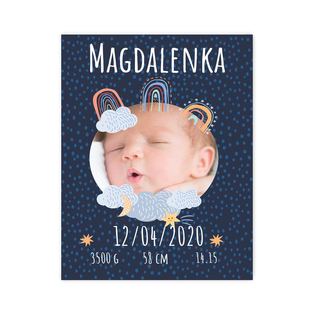 Plakat metryczka ze zdjęciem dziecka 30x40cm personalizowana słodkich snów