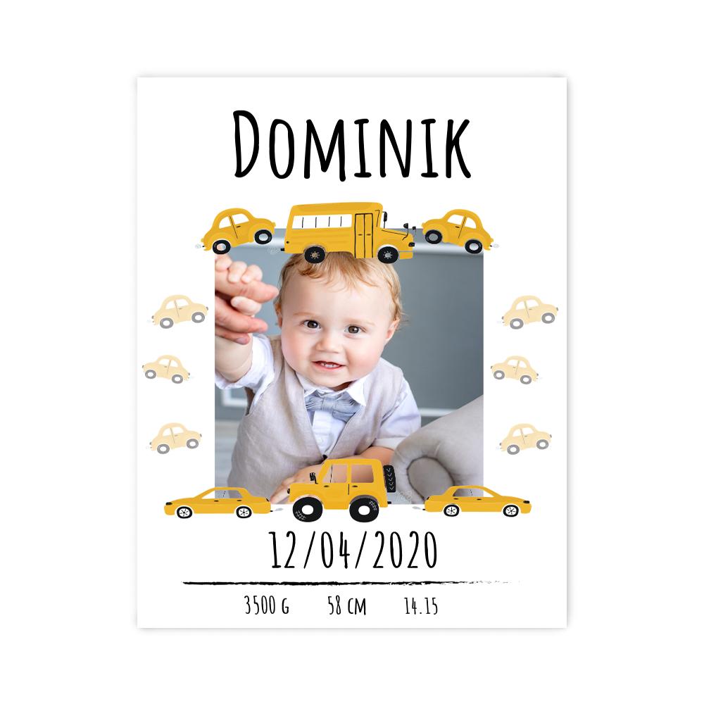 Plakat metryczka ze zdjęciem dziecka 30x40cm personalizowana samochody dla chłopca