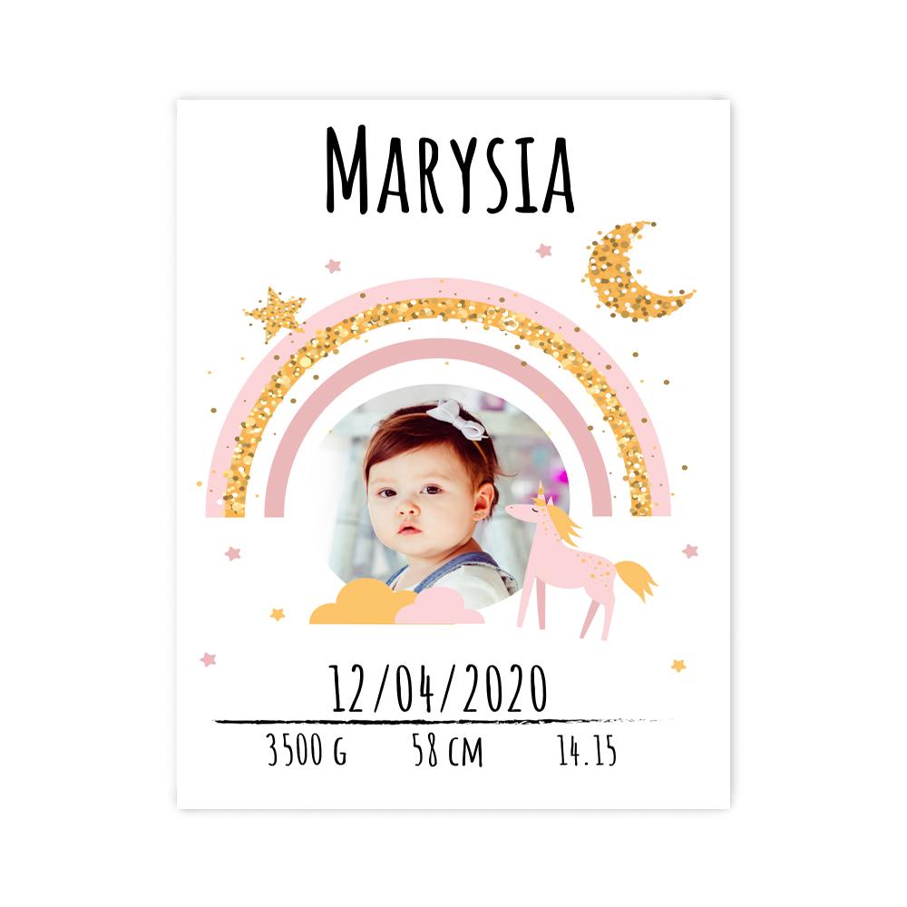Plakat metryczka ze zdjęciem dziecka 30x40cm personalizowana wzór magiczna kraina