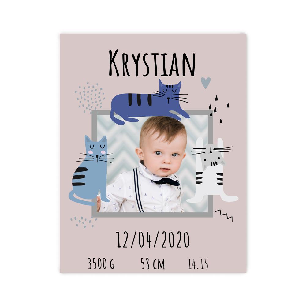 Plakat metryczka ze zdjęciem dziecka 30x40cm personalizowana wzór kitty