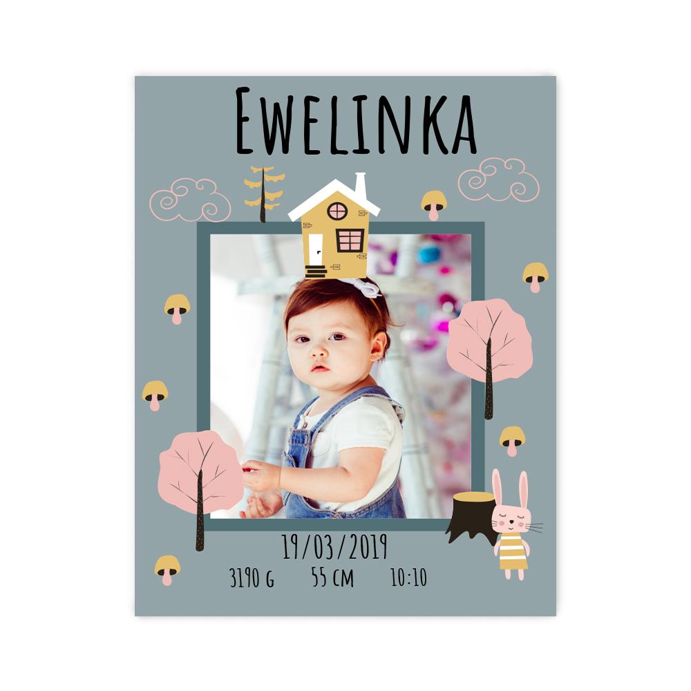Plakat metryczka ze zdjęciem dziecka personalizowana jesienna minimalistyczna