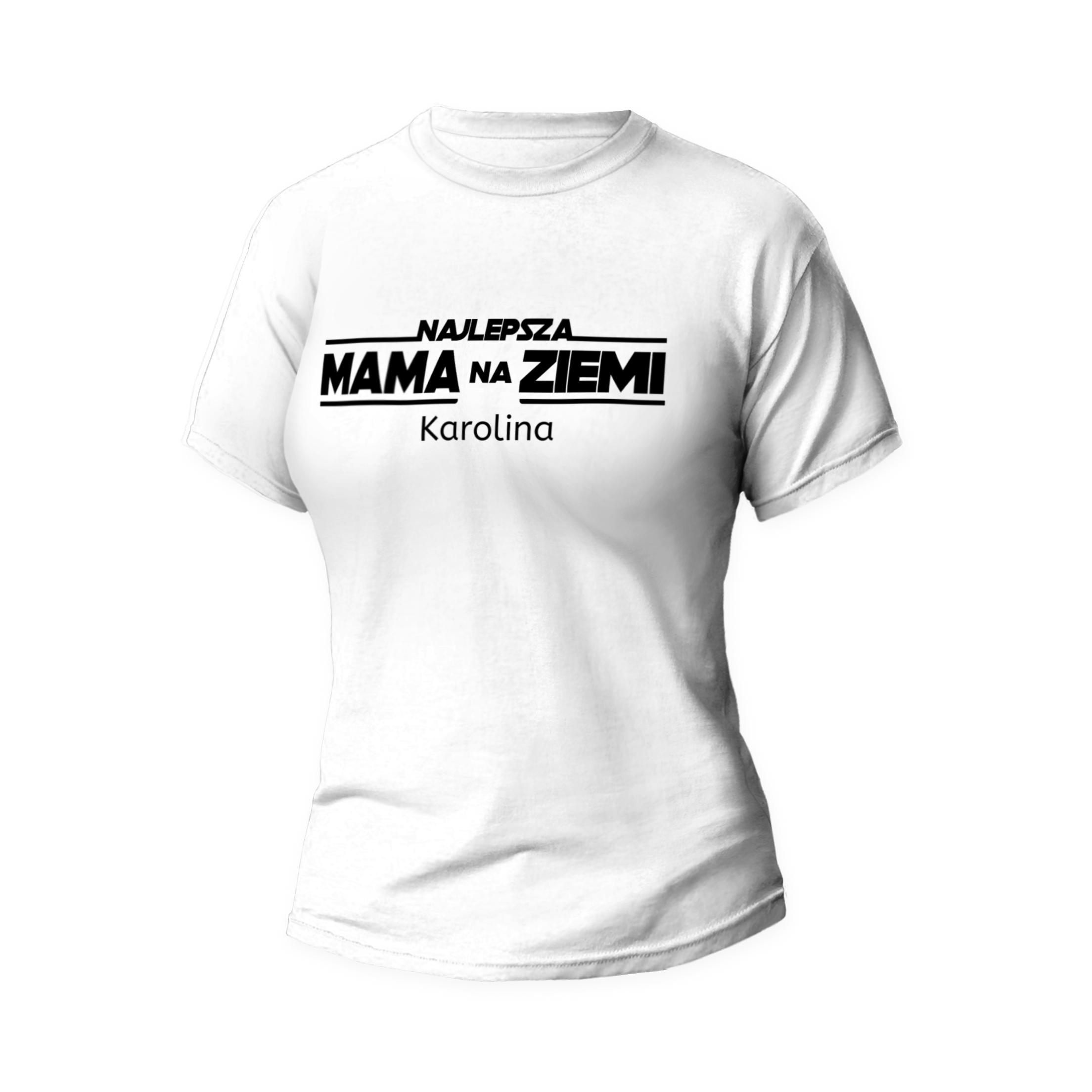 Rozmiar S - koszulka damska z własnym nadrukiem - Najlepsza mama na ziemi - biała