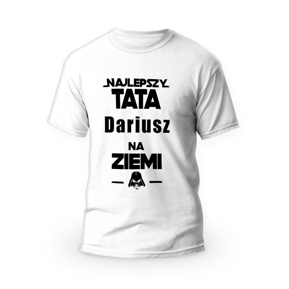Rozmiar M - koszulka męska z własnym nadrukiem - Star Wars dla taty - biała