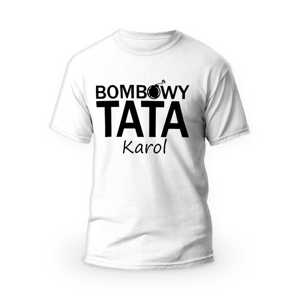 Rozmiar XL - koszulka męska z własnym nadrukiem - Bombowy tata - biała