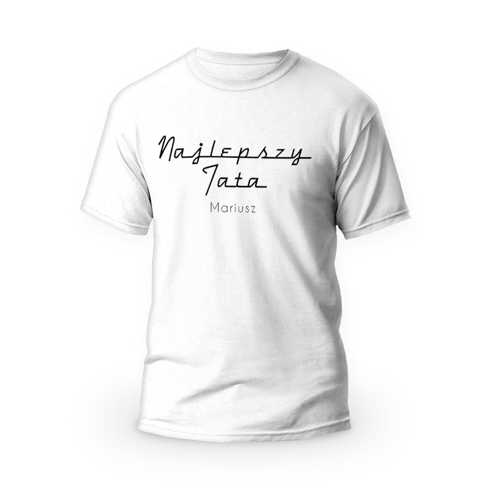 Rozmiar XL - koszulka męska z własnym nadrukiem dla taty - Warszawska Syrenka - biała