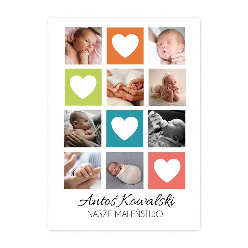 Plakat personalizowany ze zdjęciami kolorowy kolaż nasze maleństwo A2