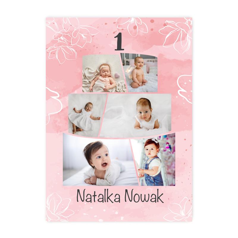 Plakat personalizowany ze zdjęciami na roczek pierwsze urodziny tort dla dziewczynki A2