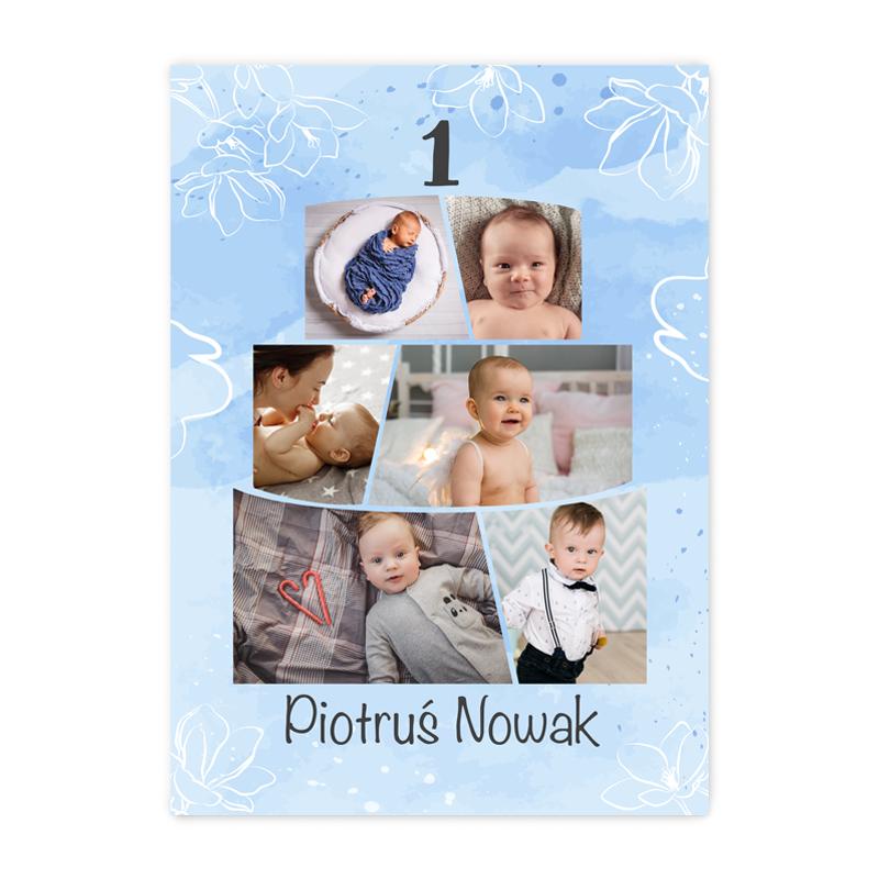 Plakat personalizowany ze zdjęciami na roczek pierwsze urodziny tort dla chłopca A2