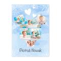 Plakat ze zdjęciami na roczek urodziny chłopca kolaż w kształcie body niebieski A2