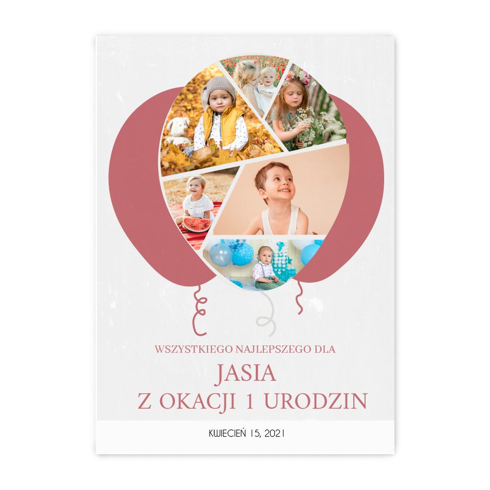 Personalizowany plakat dla dziecka na urodziny, roczek, chrzest w kształcie balona A2