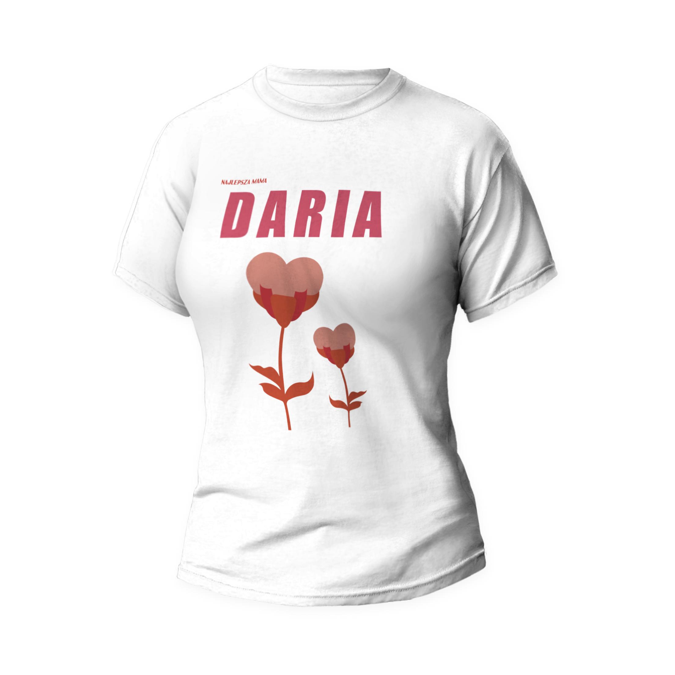 Rozmiar L - koszulka damska z własnym nadrukiem - Dla najlepszej mamy - biała
