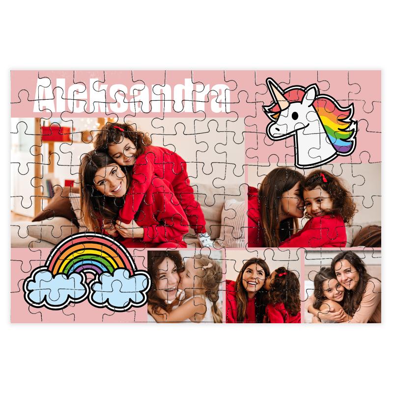 fotoPuzzle ze zdjęcia dla dziecka 96 elementów kolaż dla dziewczynki jednorożec