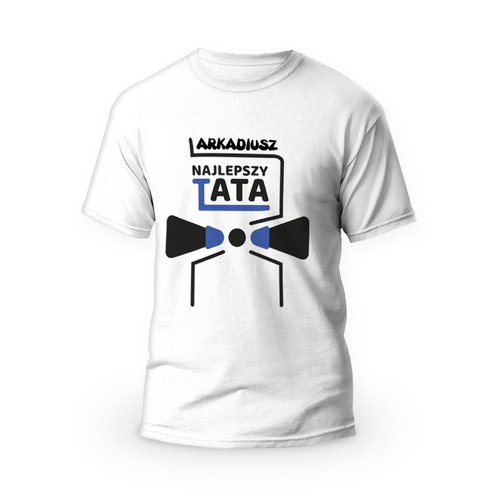Rozmiar XXL - koszulka męska z własnym nadrukiem - dla najlepszego taty - biała