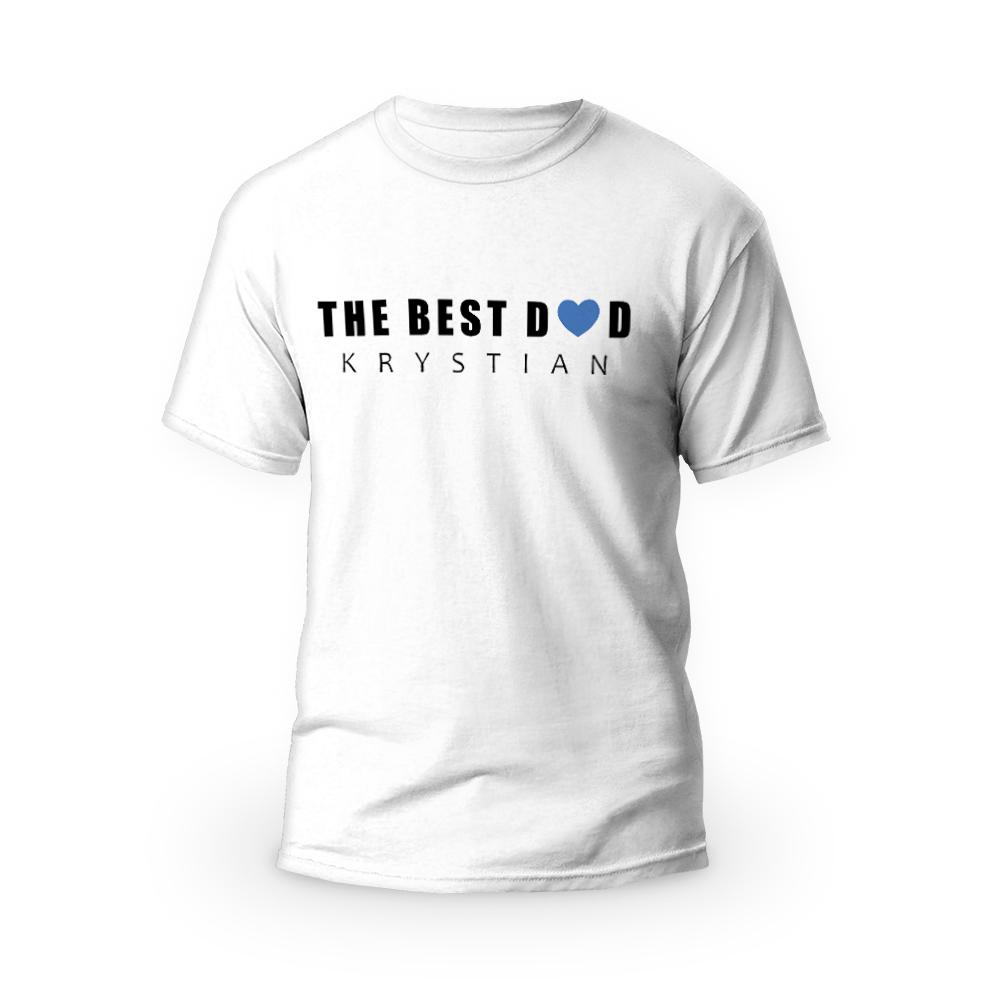 Rozmiar L - koszulka męska z własnym nadrukiem - The Best Dad - biała