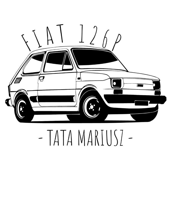 Rozmiar M - koszulka męska z własnym nadrukiem dla taty - Fiat 126P Maluch