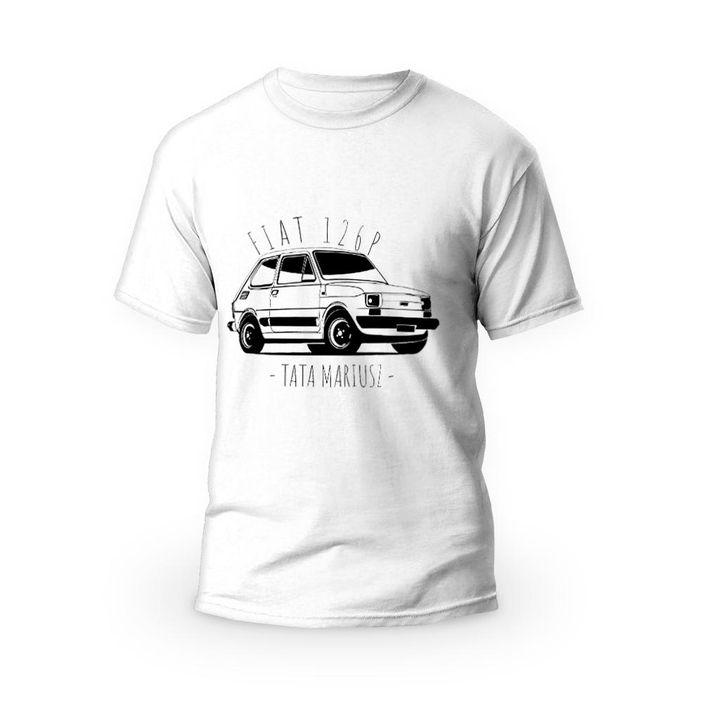 Rozmiar S - koszulka męska z własnym nadrukiem dla taty - Fiat 126P Maluch