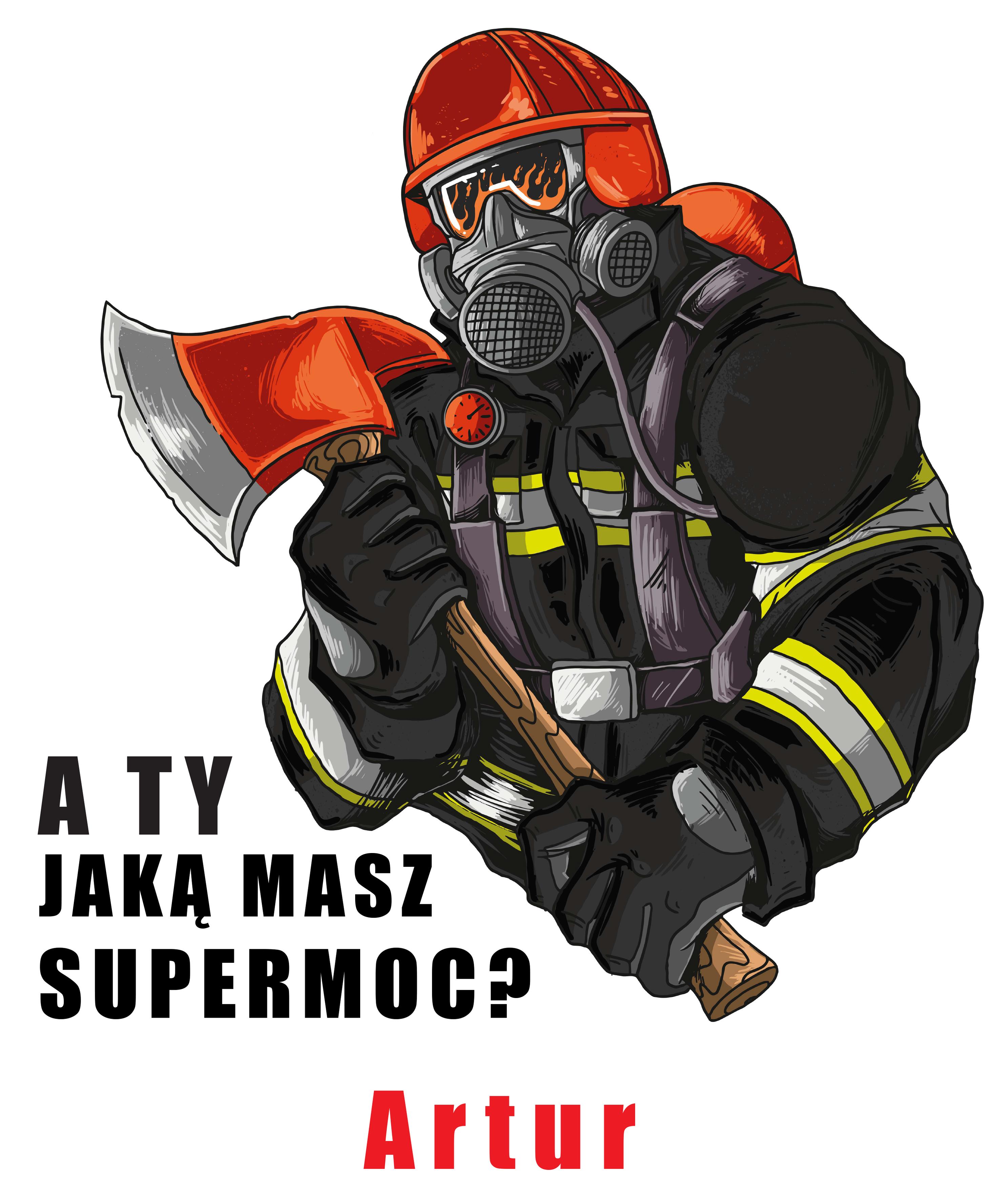Rozmiar M - koszulka męska z własnym nadrukiem dla taty - Strażak