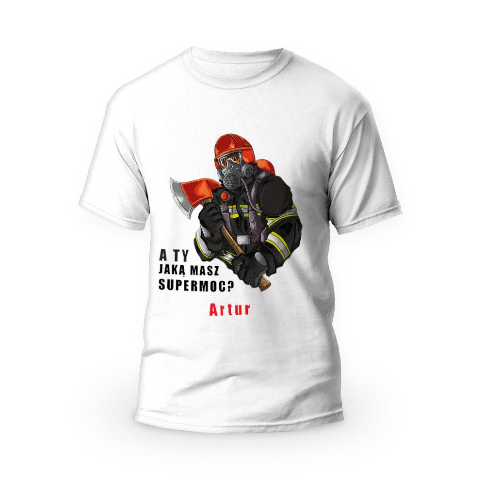 Rozmiar S - koszulka męska z własnym nadrukiem dla taty - Strażak - biała