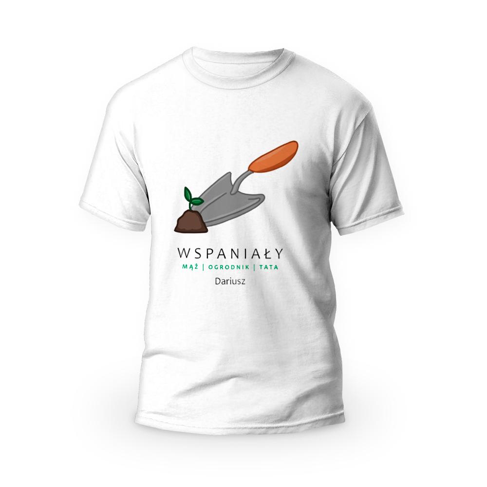 Rozmiar S - koszulka męska z własnym nadrukiem dla taty - Ogrodnik - biała